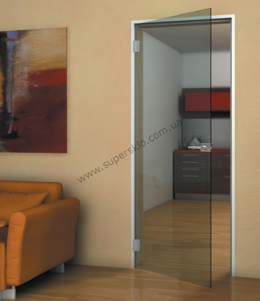 Стеклянные распашные двери в алюминиевой коробке