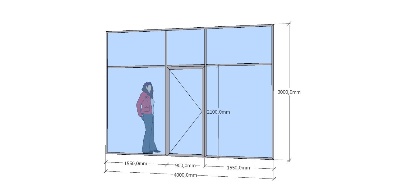 Цена прямой стеклянной перегородки