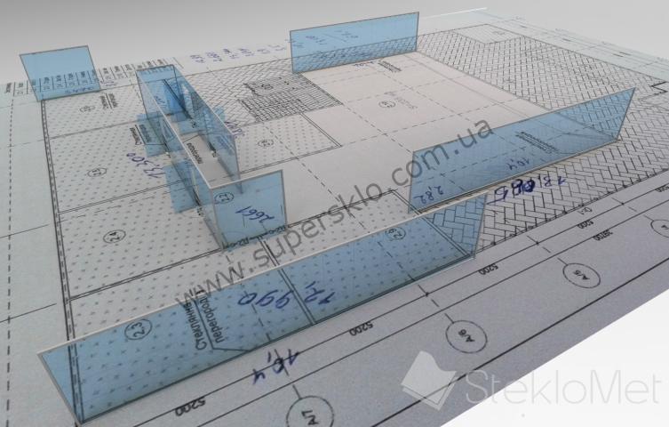 Проектирование стеклянных перегородок в Харькове